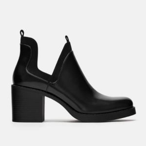 Zara Black Cut Out Booties Size 36